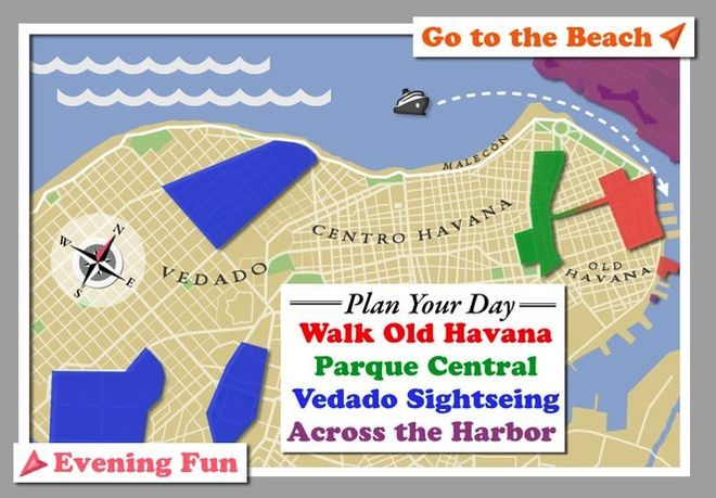 map of havana cuba for cruise visitors